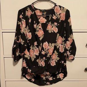 BCX Floral Surplice Tab Sleeve Top